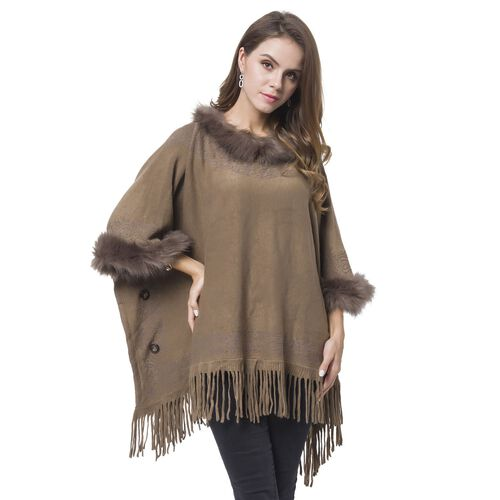 Designer Inspired - Chocolate Colour Faux Fur Cape with Tassels (Free Size)
