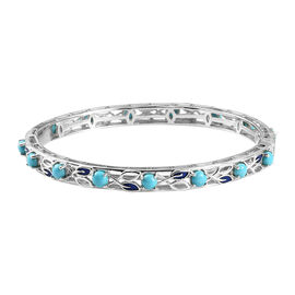 Arizona Sleeping Beauty Turquoise Enamelled Bangle (Size 7) with Clasp in Platinum Overlay Sterling