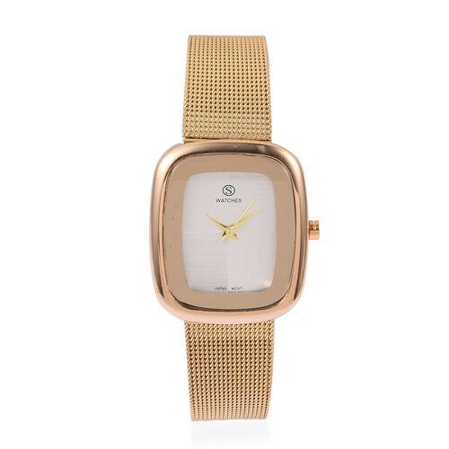 Designer Inspired-  STRADA Japanese Movement Double Sunshine Dial Water Resistant Watch in Gold Tone with Mesh Chain Strap