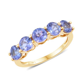 2 Carat AA Tanzanite 5 Stone Ring in 14K Gold 2.75 Grams