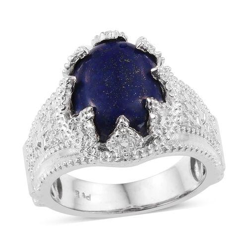 Lapis Lazuli (Ovl) Solitaire Ring in ION Plated Platinum Bond 6.000 Ct.
