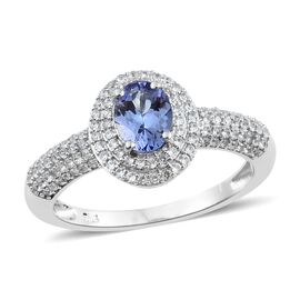 1.50 Carat Tanzanite and Cambodian Zircon Halo Ring in Platinum Plated Sterling Silver