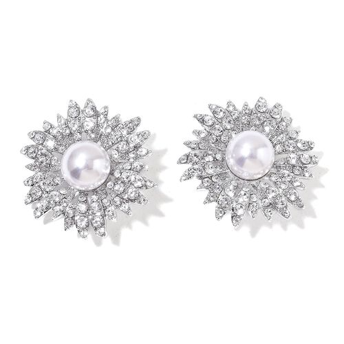 Pair of Daisy Flower Design Clip Accessory with Simulated White Pearl and Austrian Crystal Silver Plated
