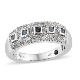 GP 0.52 Ct Blue Diamond and Multi Gemstone Cluster Ring in Platinum Plated Silver
