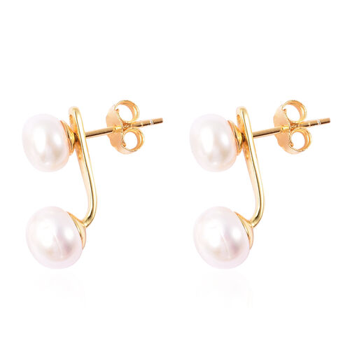 Freshwater White Pearl Detachable Earrings (with Push Back) in Rhodium Overlay Sterling Silver