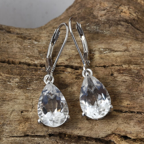Petalite (Pear 12x8 mm) Solitaire Drop Earrings (with Lever Back) in Platinum Overlay Sterling Silver 5.000 Ct.