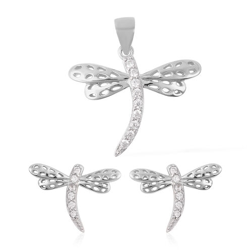 ELANZA 2 Piece Set -  Simulated Diamond Dragonfly Stud Earrings (with Push Back) and Pendant in Rhod