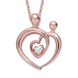 Mum and Child Love Pendant with Chain (Size 18) in Platinum and Rose Plated Silver
