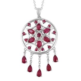 LucyQ African Ruby (Pear and Rnd) Dream Catcher Necklace (Size 20) in Rhodium Overlay Sterling Silve