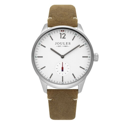 Joules Gents Watch with Matte White Dial and Tan Strap