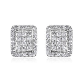Diamond (Rnd) Stud Earrings (with Push Back) in Platinum Overlay Sterling Silver 0.480 Ct.