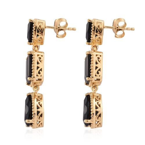 Black Tourmaline (Pear) Earrings (with Push Back) in 14K Gold Overlay Sterling Silver 11.500 Ct. Silver wt 5.91 Gms.