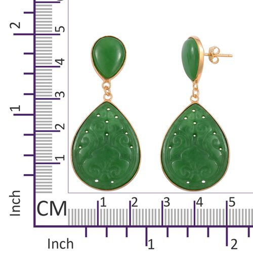 Limited Edition - Carved Green Jade Drop Earrings (with Push Back) in 14K Yellow Gold Overlay Sterling Silver 32.800 Ct.