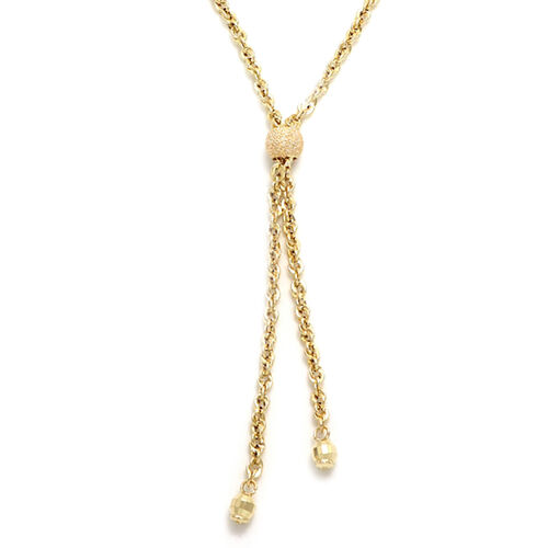 Italian Made 9K Yellow Gold Lariat Necklace (Size 18)