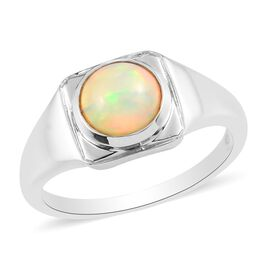 Ethiopian Opal Solitaire Ring in Platinum Overlay Sterling Silver 0.17 ct  0.298  Ct.