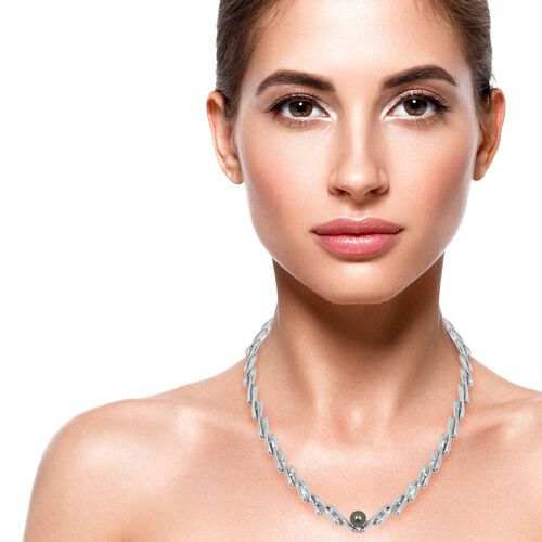 LucyQ Tahitian Pearl (Rnd 10mm) Necklace (Size 20 with 3 inch Extender) in Rhodium Overlay Sterling Silver, Silver wt 65.00 Gms