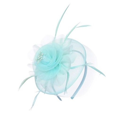 Turquoise Mesh Flower Fascinator