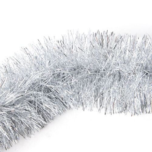 Set of 4 Silver Colour Tinsel Garland Christmas Decoration (Size 200x9 Cm)