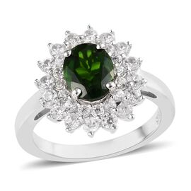 2.35 Ct Russian Diopside and Zircon Halo Ring in Platinum Plated Silver