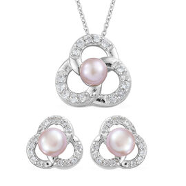2 Piece Set- Freshwater Pink Pearl (Rnd), Natural Cambodian Zircon Pendant with Chain (Size 20) and Earrings (with Push Back) in Platinum Overlay Sterling Silver