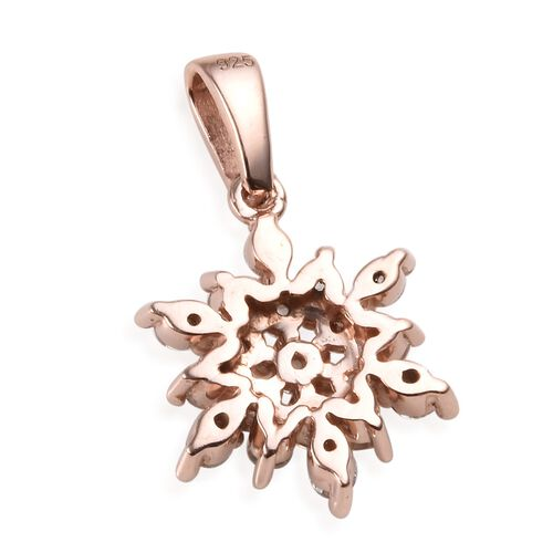 Natural Cambodian Zircon (Rnd) Snowflake Pendant in Rose Gold Overlay Sterling Silver 1.00 Ct.