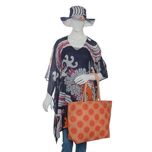 100% Cotton Navy Blue, White and Multi Colour Flower Pattern Apparel (Free Size), Cap (Size 36x34 Cm) and Orange Pattern Jute Handbag (Size 48x40x34x15 Cm)
