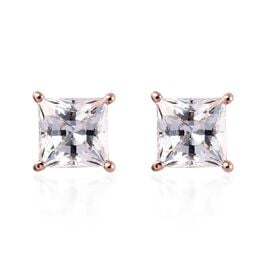 J Francis - Rose Gold Overlay Sterling Silver Stud Earrings Made with SWAROVSKI ZIRCONIA 1.42 Ct.