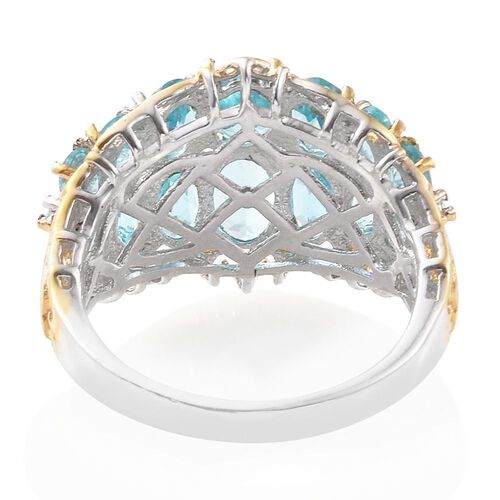 Paraiba Apatite (Ovl), Natural Cambodian Zircon Ring in Platinum and Yellow Gold Overlay Sterling Silver 5.250 Ct. Silver wt. 4.89 Gms.