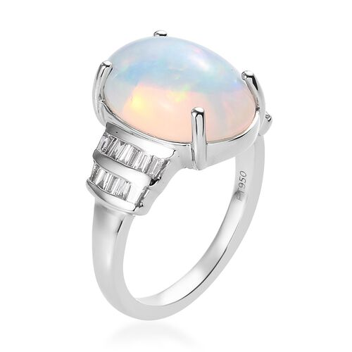 Close Out Deal- RHAPSODY 950 Platinum AAAA Ethiopian Welo Opal (Ovl 14x10mm) and Diamond Ring 4.300 Ct., Platinum wt 6.00 Gms.
