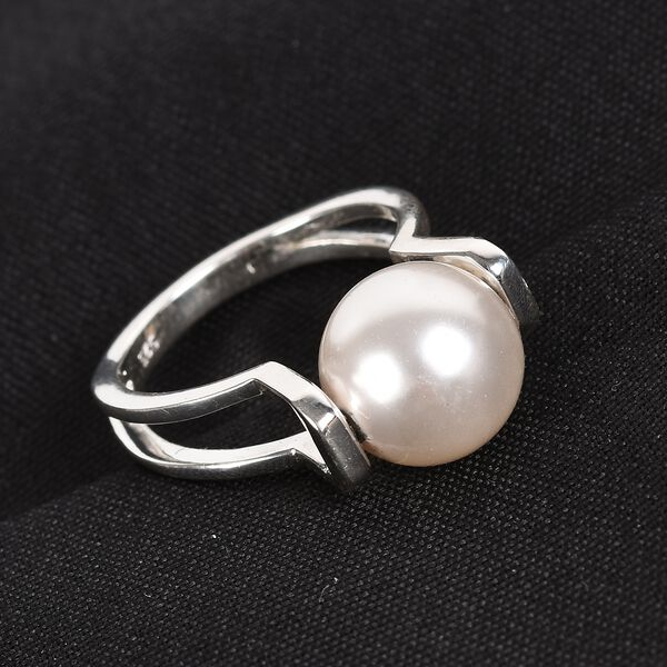 J Francis Crystal from Swarovski White Crystal Pearl Ring in Sterling Silver