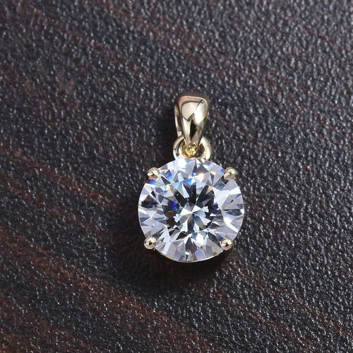 J Francis - 9K Yellow Gold (Rnd) Solitaire Pendant Made with SWAROVSKI ZIRCONIA