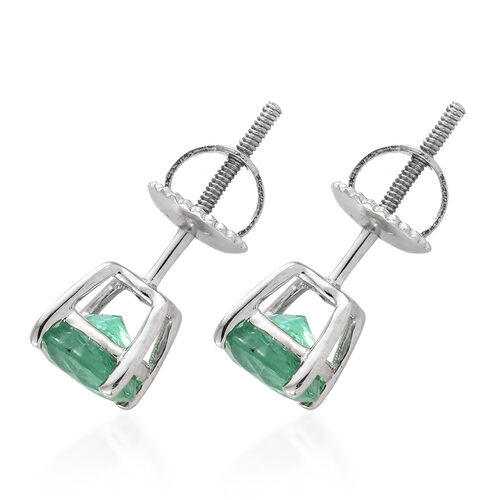 Signature Collection - RHAPSODY 950 Platinum AAAA Kagem Zambian Emerald (Rnd) Stud Earrings (with Screw Back) 1.600  Ct.