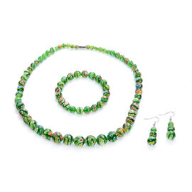 3 Piece Set -  Green Murano Style Glass Necklace (Size 20 with Magnetic Lock), Stretchable Bracelet