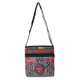 SHANGHAI  COLLECTION - Embroidered Flower and Butterfly Pattern Crossbody Bag with Adjustable Should