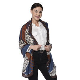 Leopard and Stripe Pattern Scarf in Blue and Brown (80x180cm)