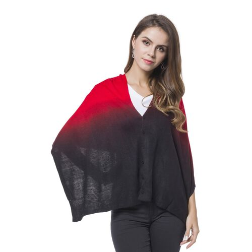 Designer Inspired Black and Wine Red Colour Buttons Embellished Shawl (Size 156X50 Cm)