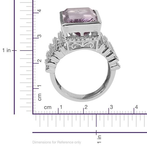 Rare Size Rose De France Amethyst (Bgt), Diamond Ring in Platinum Overlay Sterling Silver 16.270 Ct. Silver Wt 12.75 Gms
