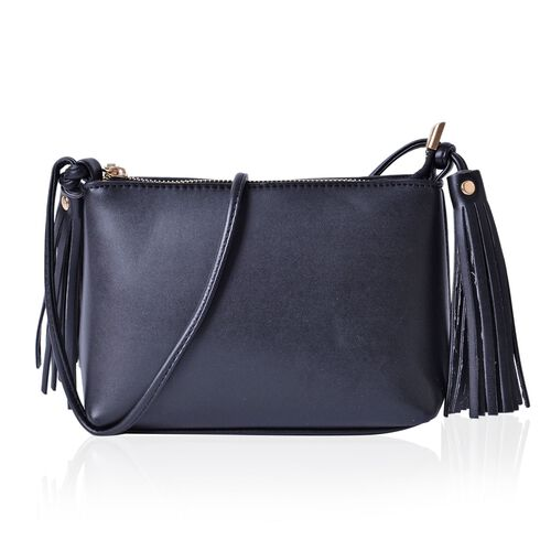 Black Colour Crossbody Bag with Tassels and Shoulder Strap (Size 20x15x7.5 Cm)