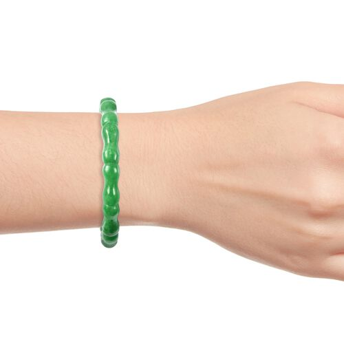 One Time Deal-Carved Green Jade Bamboo Bangle (Size 7.75) 109.00 Ct.
