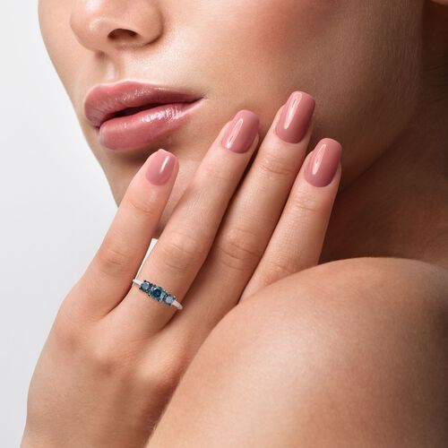 9K White Gold Blue diamond Trilogy Ring 1.01 Ct.