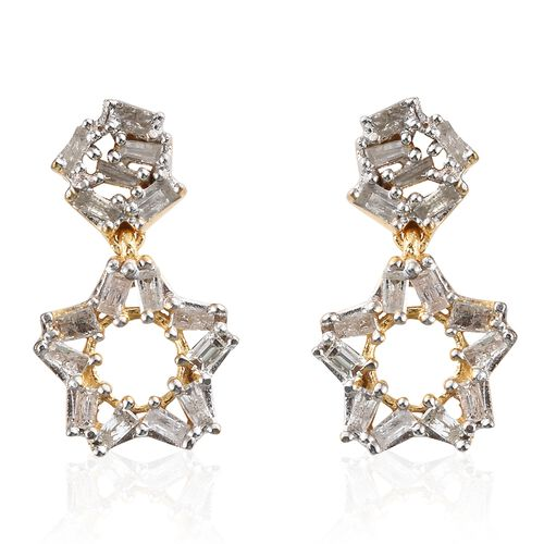 Diamond (Bgt) Star Earrings (with Push Back) in 14K Gold Overlay Sterling Silver 0.750 Ct.