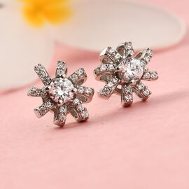 J Francis Platinum Overlay Sterling Silver Floral Stud Earrings (with Push Back) Made with SWAROVSKI ZIRCONIA 1.00 Ct.