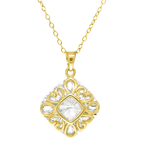 Designer Inspired - 14K Gold Overlay Sterling Silver Pendant with Chain
