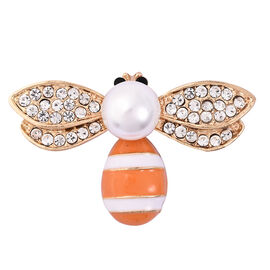 Simulated Pearl and Black and White Austrian Crystal Enamelled Bee Brooch in Gold Tone
