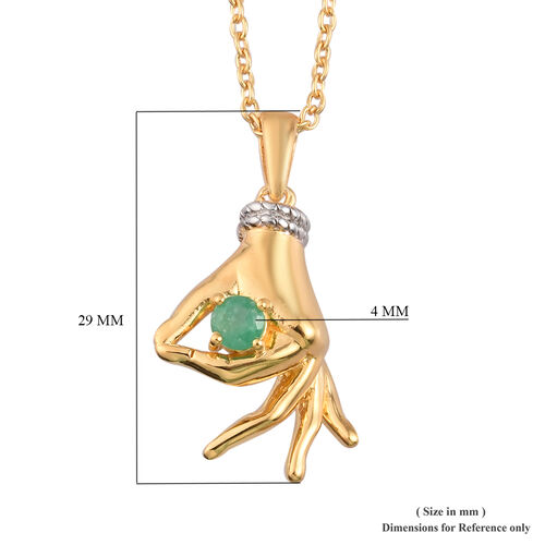 Kagem Zambian Emerald Mudra Hand Pendant With Chain (Size 20) in Yellow Gold and Platinum Overlay Sterling Silver 0.25 Ct, Silver wt. 8.30 Gms