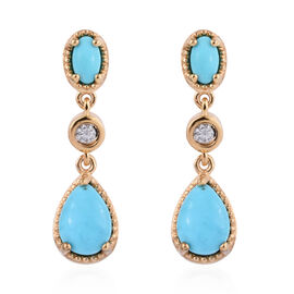 Arizona Sleeping Beauty Turquoise (Pear and Ovl), Natural Cambodian Zircon Earrings in 14K Gold Over