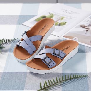 LA MAREY Crisscross Strap Faux-Leather Sandals - Blue