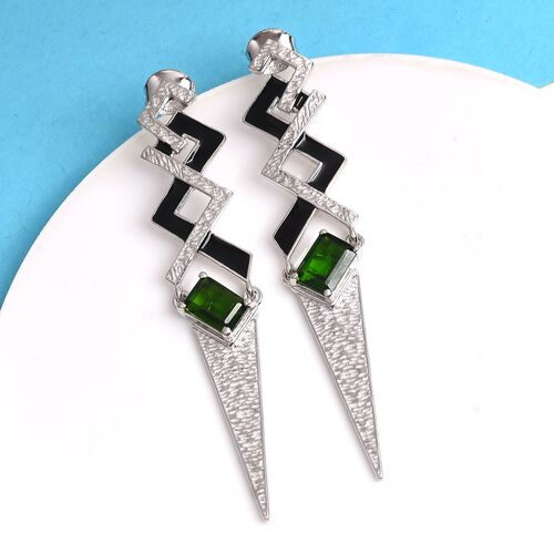 Russian Diopside Enamelled Earrings (with Push Back) in Platinum Overlay Sterling Silver 2.00 Ct, Silver wt 7.50 Gms