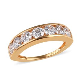 J Francis - 14K Gold Overlay Sterling Silver (Rnd) Half Eternity Band Ring Made with SWAROVSKI ZIRCO