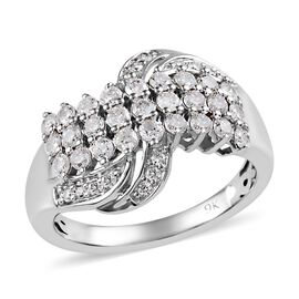 9K White Gold SGL Certified Diamond (Rnd) (I3/G-H) Ring 1.00 Ct, Gold wt 4.70 Gms